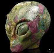 "Gemstone 2.0"" Ruby Fuchsite Carved Crystal Star Being, Female Alien Skull"