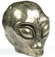 "Gemstone 2.0"" Pyrite Carved Crystal Star Being, Female Alien Skull"
