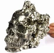 "Amazing Huge 6.2"" Pyrite Druse Carved Crystal Skull Sculpture"