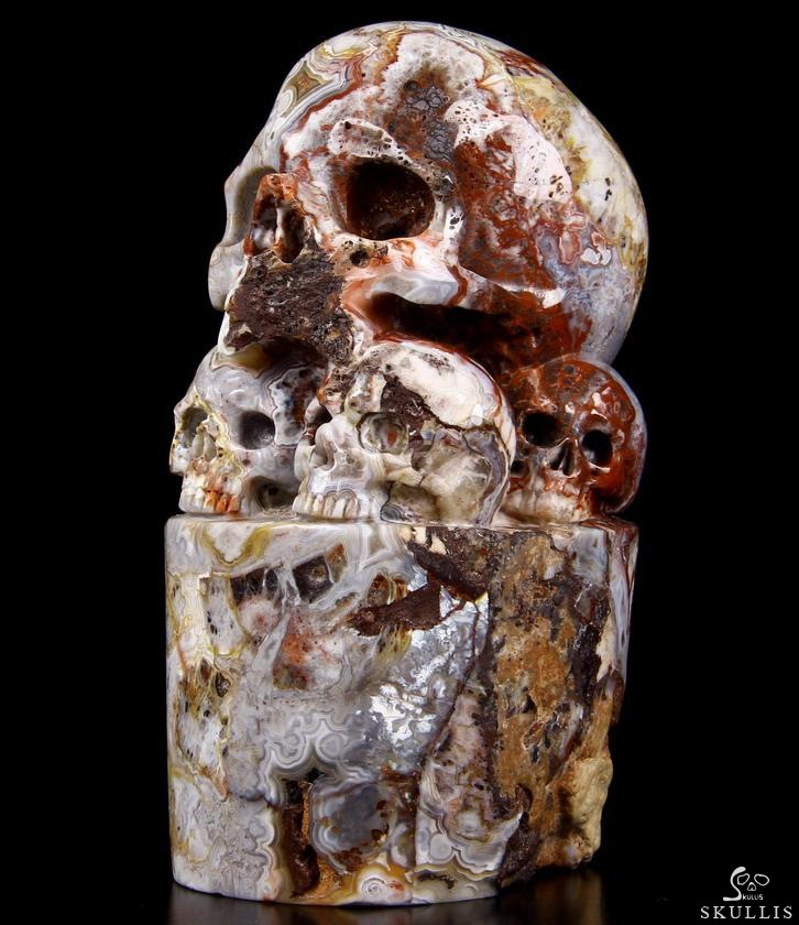 Red Crazy Lace Agate Crystal Skulls Sculpture