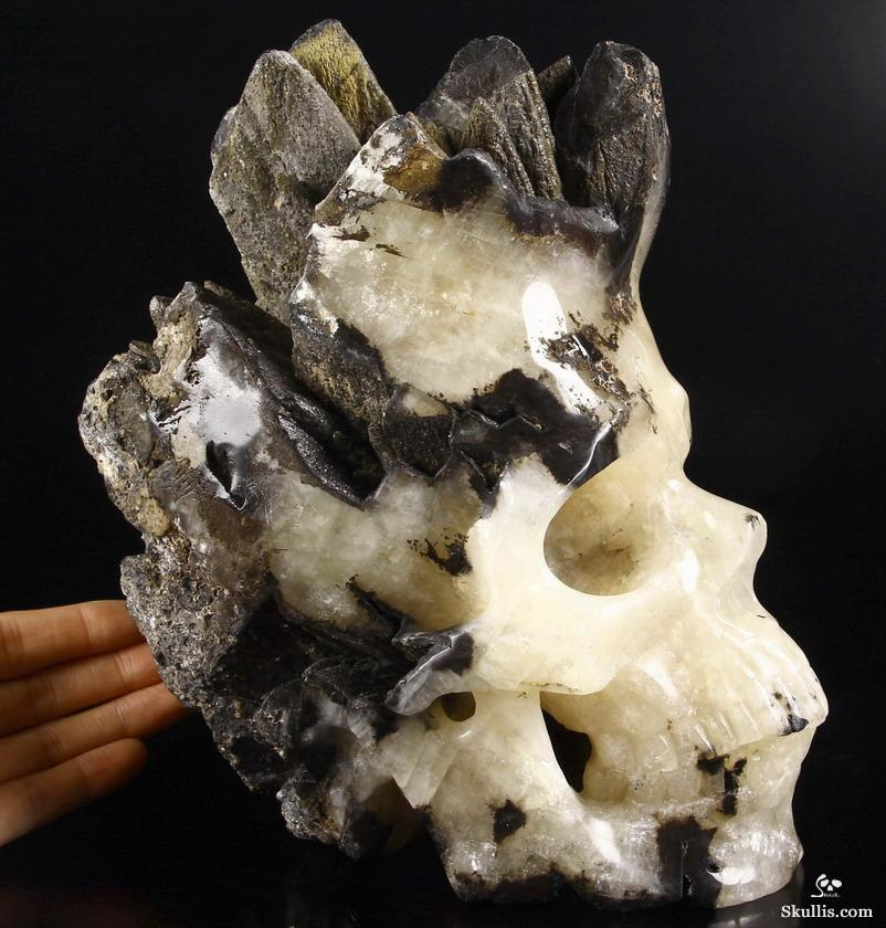 Empire Agate Druse Crystal Skull Sculpture