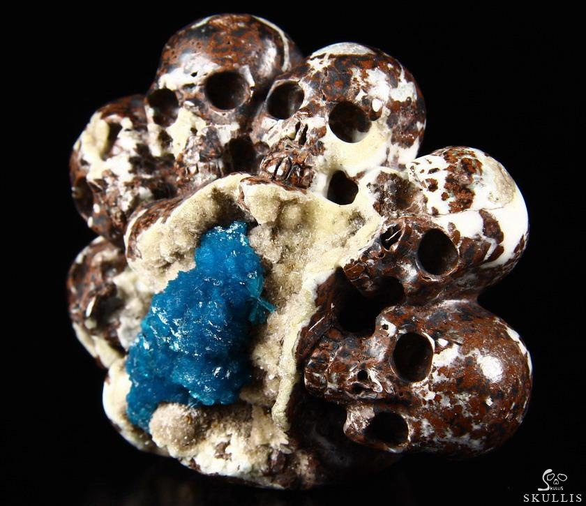 Cavansite Crystal Skulls Sculpture