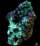"Nice 3.0"" Azurite & malachite Carved Crystal Skull"