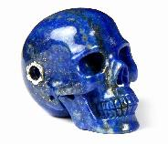 Gem Quality Lapis Lazuli Carved Crystal Skull Pendant with Sterling Silver