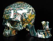 "Gemstone Lifesized 7.2"" Bloodstone Carved Crystal Skull, Detachable"