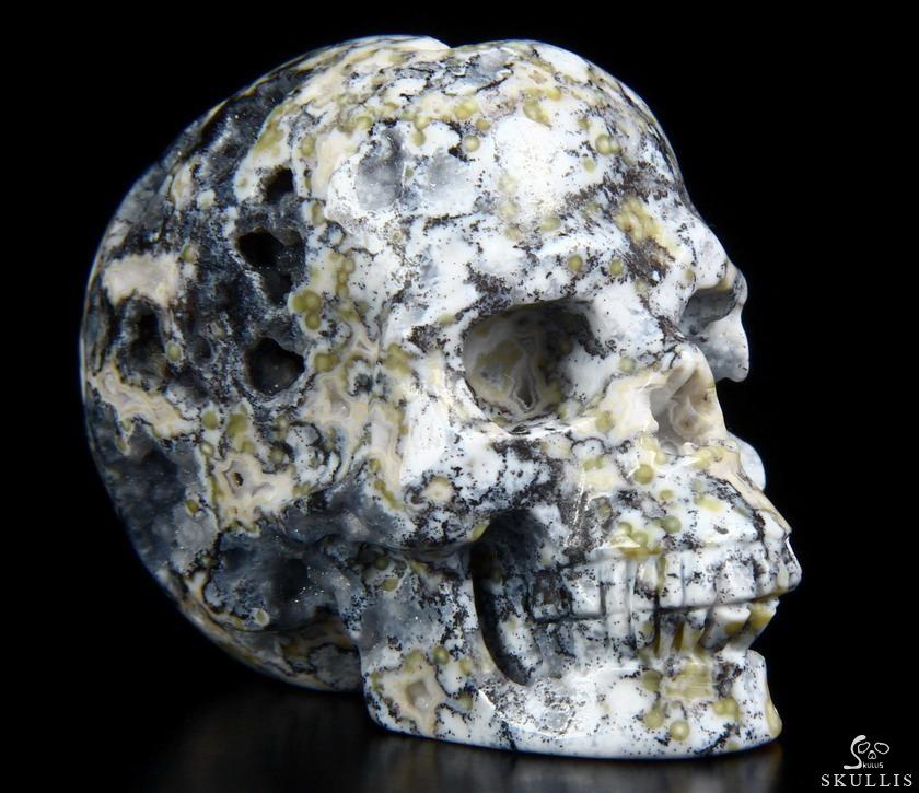 Quot blue ocean agate carved crystal geode skull