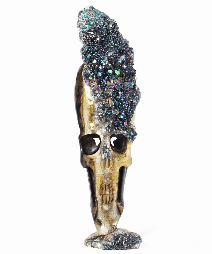 Quartz Druse Crystal Skull Sculpture