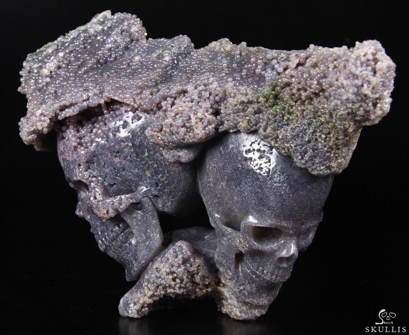 Purple Grape Agate Crystal Skulls Sculpture