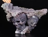 "Amazing Huge 7.4"" Purple Grape Agate Carved Crystal Skulls Sculpture"
