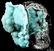 "Amazing 3.6"" Blue Aragonite Carved Crystal Skull Sculpture"