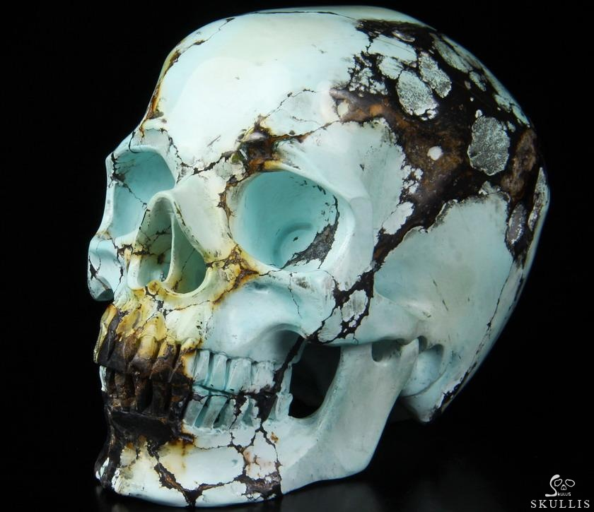 Awesome gemtone turquoise carved crystal skull super