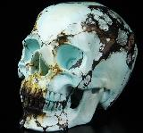 "Awesome Gemtone 4.1"" Turquoise Carved Crystal Skull, Super Realistic"