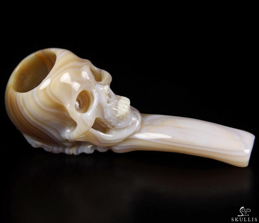 Agate Crystal Skull Smoking Pipe Sculpture