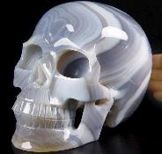 "Lifesized 6.5"" Grey & White Agate Carved Crystal Skull, Realistic"
