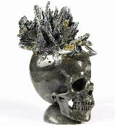 "Huge 4.5"" Stibnite Carved Crystal Skull Sculpture"