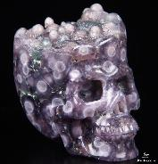 "2.6"" Purple Grape Agate Carved Crystal Skull, Realistic"