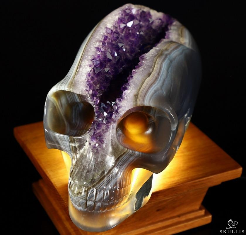 Stunning giant quot agate geode carved crystal skull