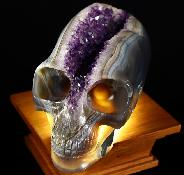 "Stunning Giant 9.4"" Agate Geode Carved Crystal Skull Elongated Mayan Alien Crystal Skull"