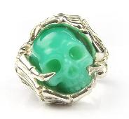 Gemstone Size 9 1/2, Chrysoprase Carved Crystal Skull Ring with sterling silver Bones Ring