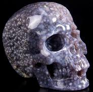"Nice Gemstone 5.0"" Purple Grape Agate Carved Crystal Skull, Super Realistic"