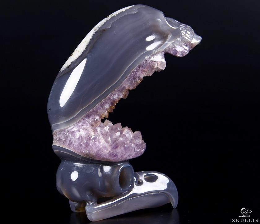 Agate Amethyst Geode Crystal Elongated Mayan Alien Skull & Owl Sculpture