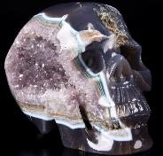 "Lifesize 6.2"" Agate Amethyst Geode Carved Crystal Skull, Realistic"