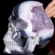 "Unique Lifesized 8.0"" Agate Amethyst Geode Carved Crystal Skull, Super Realistic"