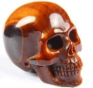 "Amazing 1.8"" Red Tiger Eye Carved Crystal Skull, Realistic"