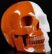 "Huge 5.2"" Red & White Carved Crystal Skull, Realistic"