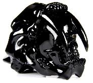 "AWESOME 5.0"" Black Obsidian Carved Crystal Smilodon SABER-TOOTHED Tiger/Cat Skull, Realistic"