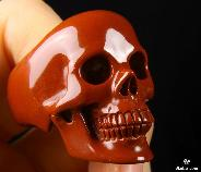 "1.6"" Red Jasper Carved Crystal R1 Skull RING, Realistic #11.5"