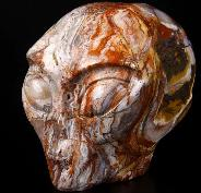 "4.1"" Red Crazy Lace Agate Carved Crystal Female Alien Skull, Realistic"
