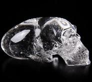 "Clear 5.1"" Quartz Rock Crystal Carved Crystal Elongated Mayan Alien Crystal Skull, Realistic"