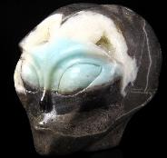"4.2"" Chinese Amazonite Carved Crystal Female Alien Skull, Realistic"