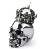 "Original 2.0"" Tera-hertz Carved Crystal Skull With silver Crown, Realistic"
