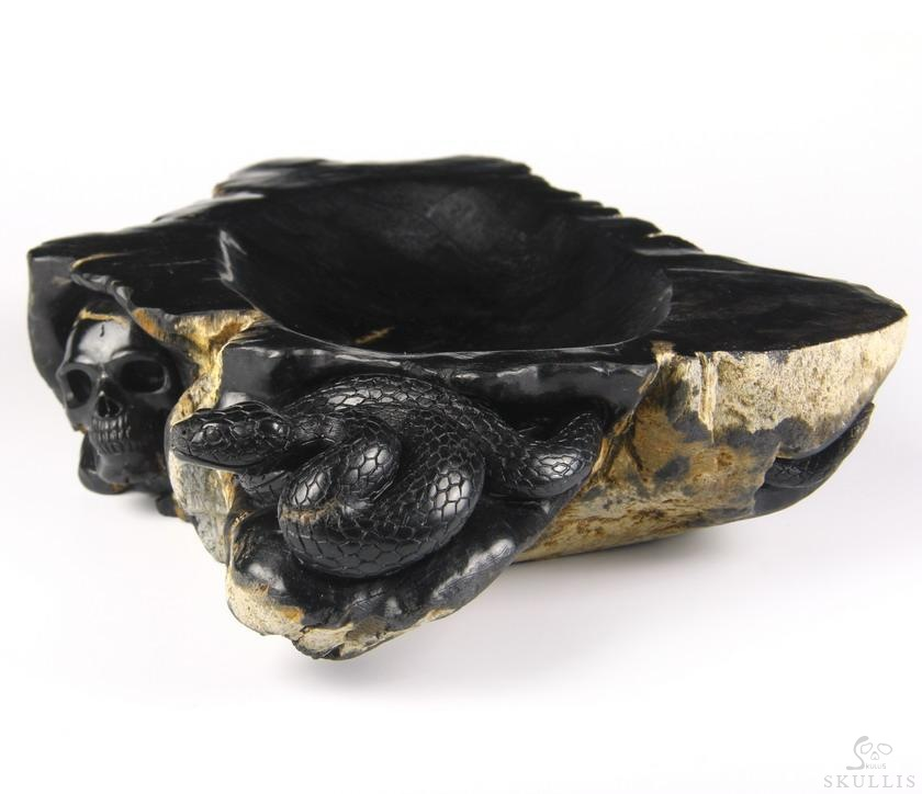 Petrified Wood Crystal Skull With Snake Plate