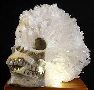 "Amazing 7.9"" Quartz Rock Crystal Carved Crystal Super Skull, Realistic, Crystal Healing"
