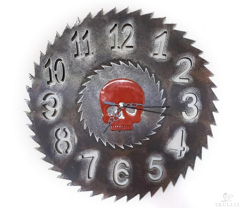 Red Jasper Crystal Skull Face Clock