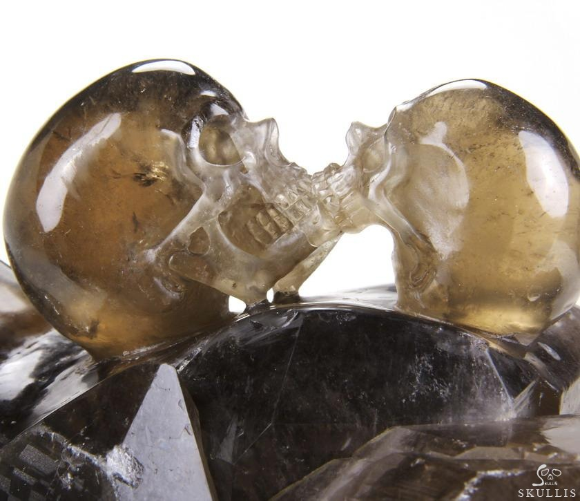 Smoky Quartz Rock Crystal Crystal Kiss Skulls Sculpture