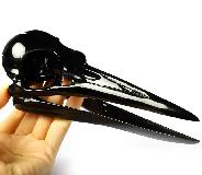 "Original Design 7.3"" Black Obsidian Carved Crystal pterodactyl Head Skull, Realistic, Crystal Healing"