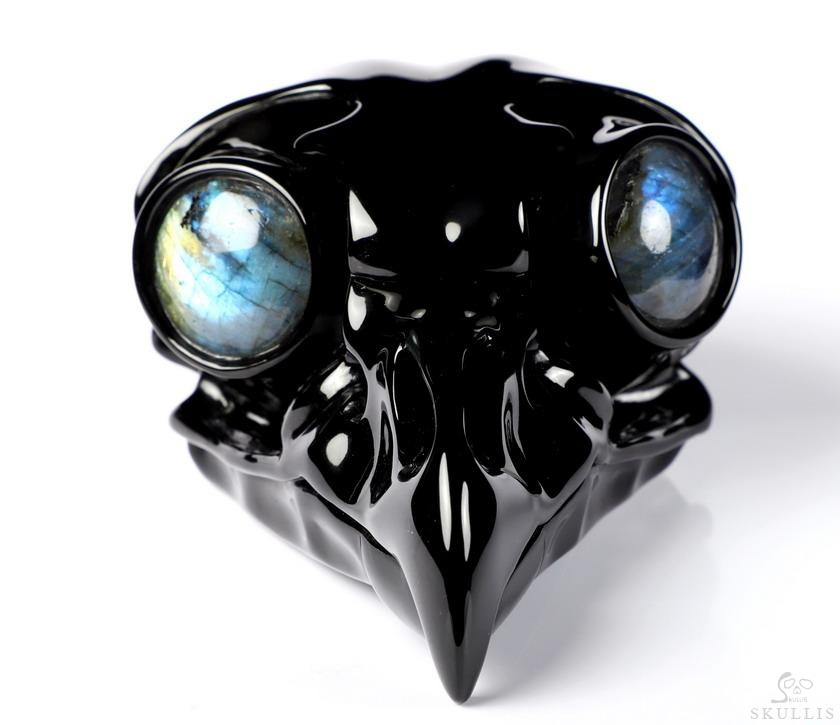 Black Obsidian Crystal Owl Sculpture & Labradorite Eye