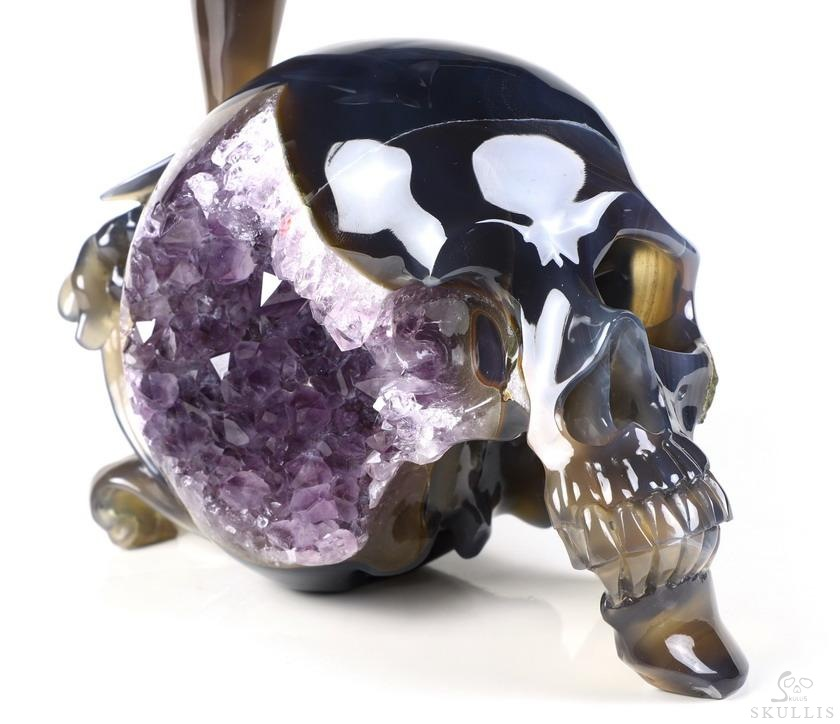 Agate Amethyst Geode Crystal Skull With Dolphin Sculpture