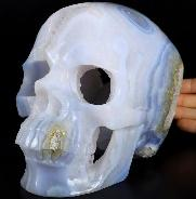 "GEMSTONE 5.1"" Blue Lace Geode Carved Crystal Skull, Super Realistic, Healing"
