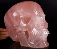 "Lifesized 7.7"" Rose Quartz Carved Crystal Skull, Super Realistic, Crystal Healing"