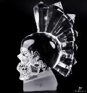 "Original 4.9"" Synthetic Quartz Carved Crystal Punk Skull, Realistic, Crystal Healing"
