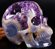 "Lifesized 7.5"" Agate Amethyst Geode Carved Crystal Skull, Super Realistic, Crystal Healing"