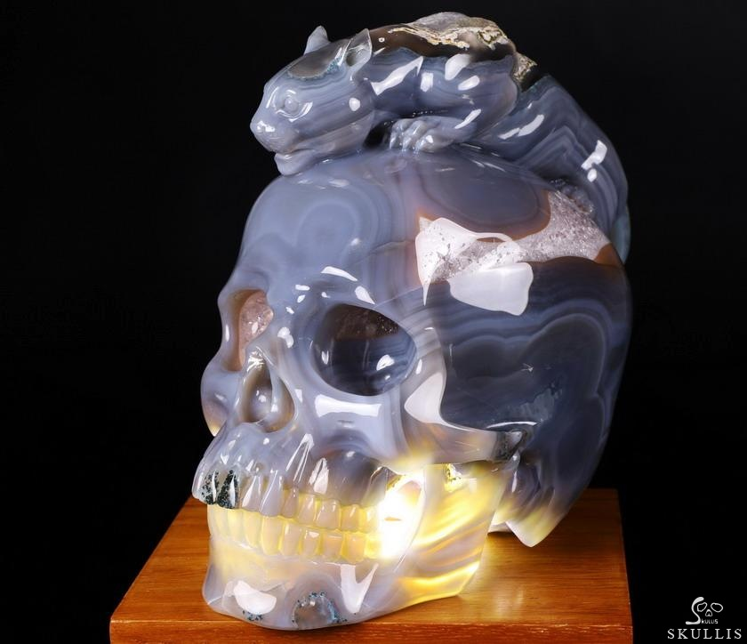 Amethyst & Agate Geode Crystal Skull With Leopard Sculpture