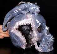 "Giant 7.9"" Amethyst & Agate Geode Carved Crystal Skull With Leopard Sculpture, Crystal Healing"