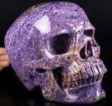 "Giant Gemstone 8.7"" Russian Charoite Carved Crystal Skull, Super Realistic, Crystal Healing"