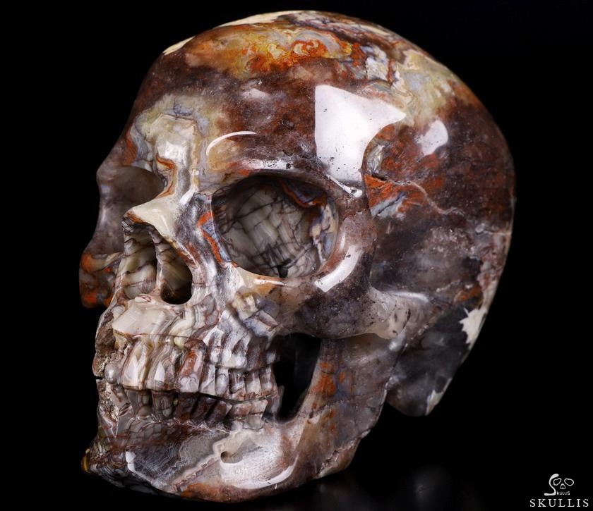 Red Crazy Lace Agate Crystal Skull